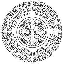 圆环古典线条龙纹