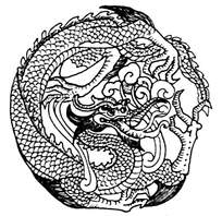 圆形白描古典龙纹