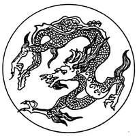 圆形白描龙花纹