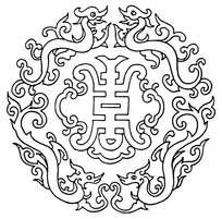 圆形福寿龙花纹