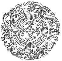 圆形极限龙纹线稿