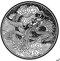 圆形龙吐水花纹