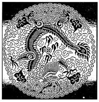 圆形十字绣龙纹