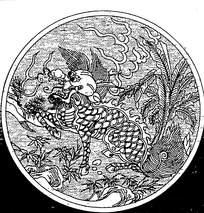圆形线条龙纹插图