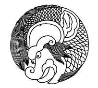 圆形线条鸱吻花纹