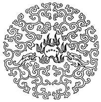 圆形植物龙花纹