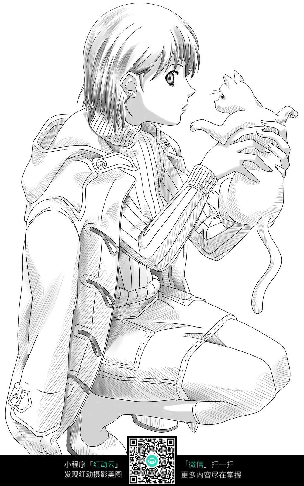 抱着猫咪的线条女孩