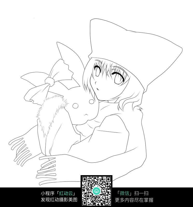 抱着萌宠的少女_人物卡通图片