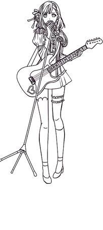 唱歌的少女卡通手绘线稿 唱歌的少女卡通手绘线稿 唱歌的少女漫画
