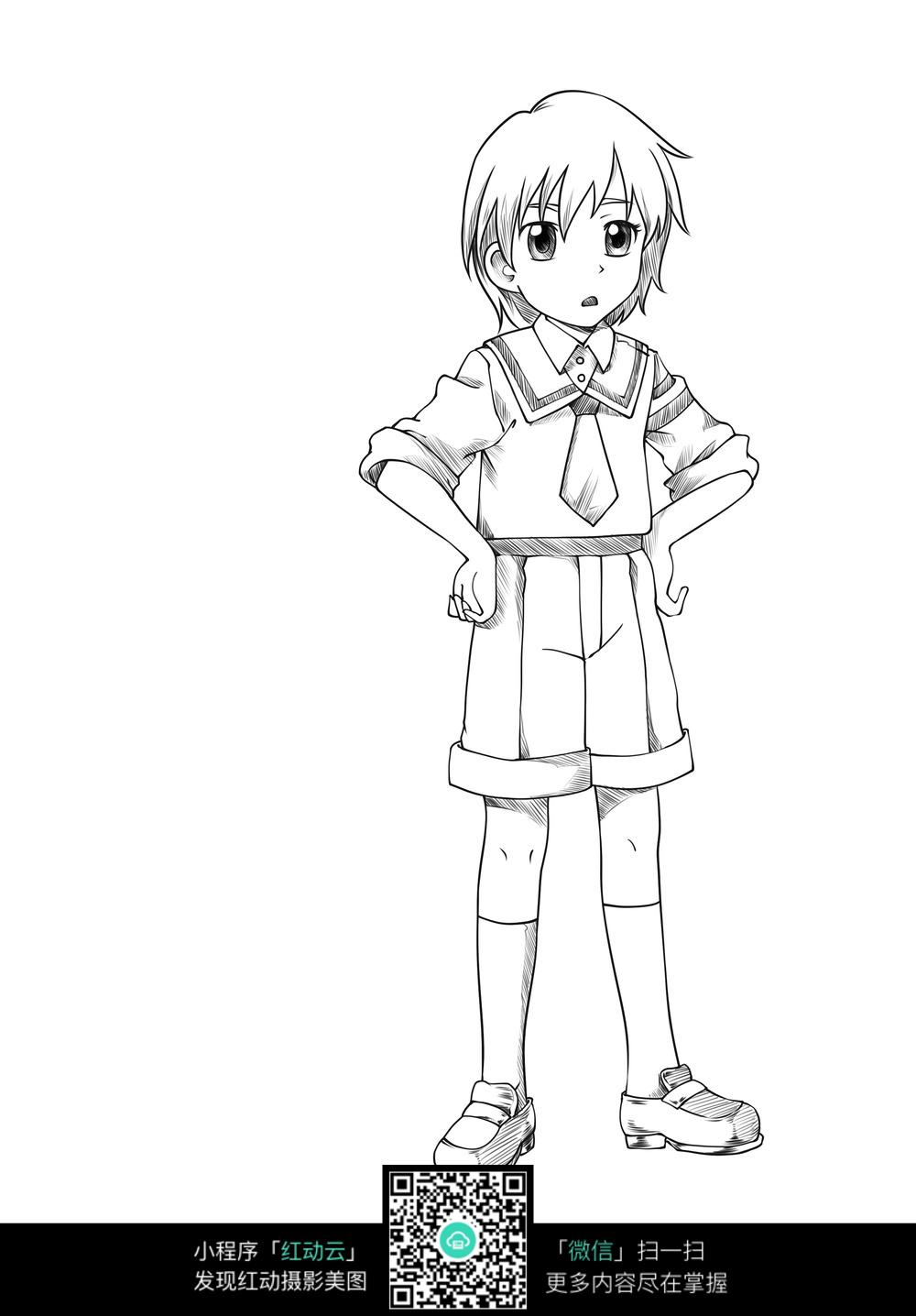 免费素材 图片素材 漫画插画 人物卡通 叉腰男孩线稿  请您分享: 素材