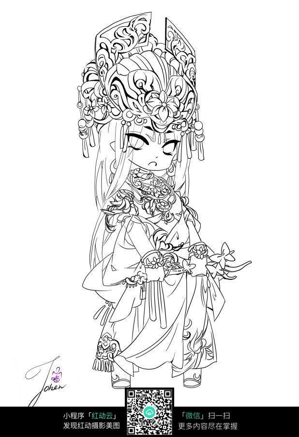 图片素材  卡通   漫画  穿华丽古装的少女  jpg动漫素材 人体姿势