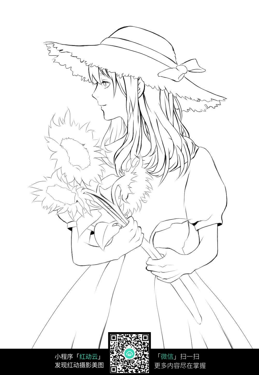 戴帽子的女孩卡通手绘