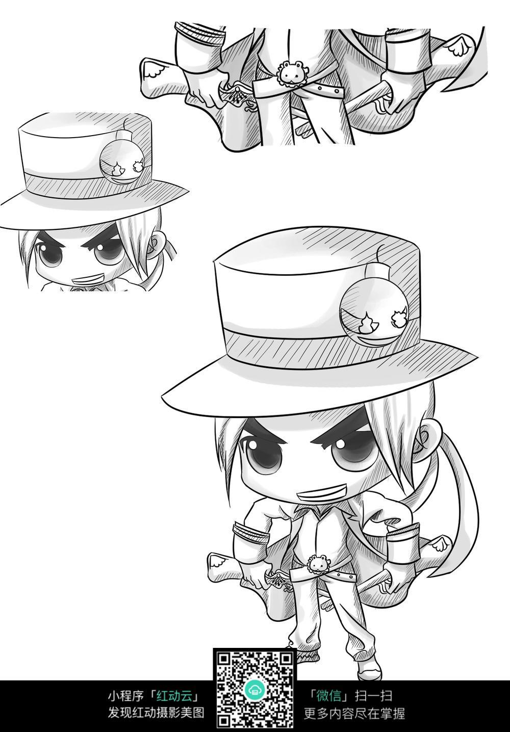 漫画 q版 小女孩 玩偶 酷帅 个性 手绘      卡通人物 漫画人物 人物