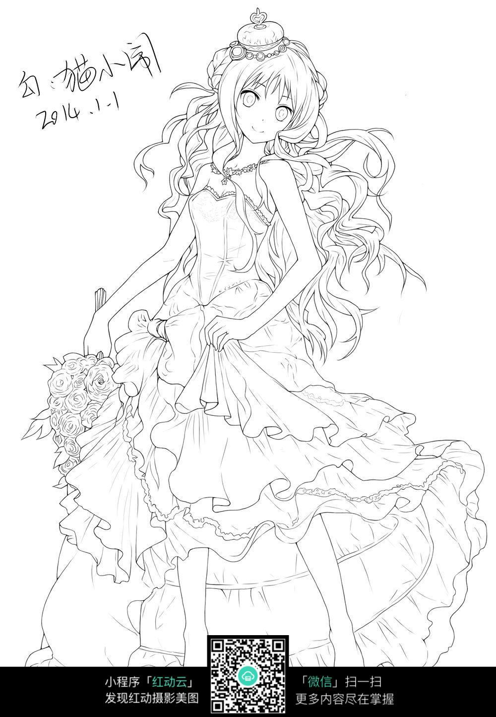 动漫女生公主裙设计手绘稿