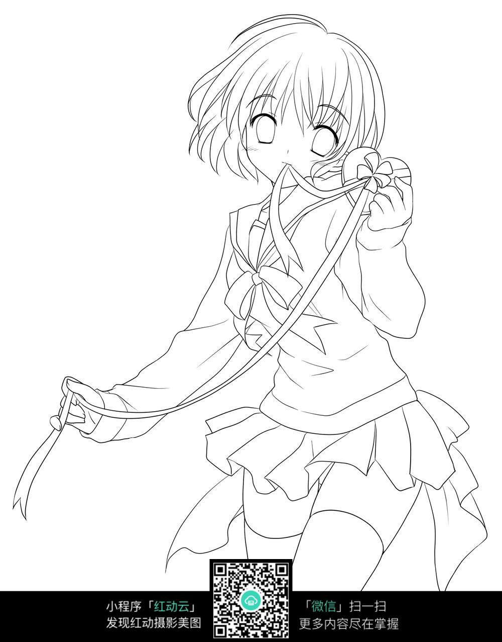 短发女孩卡通手绘