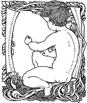 黑白线条神话人物插图