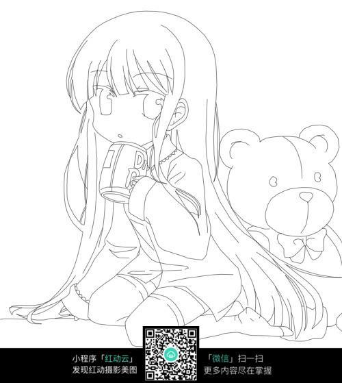 喝水的女孩卡通手绘图片