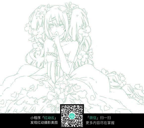 花仙子线描