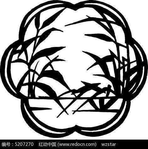 花形剪纸竹叶图图片