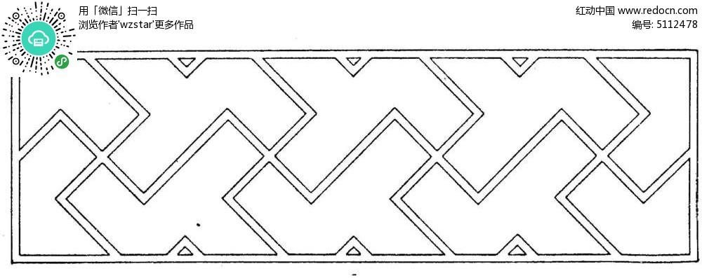 简约几何中式边框图片