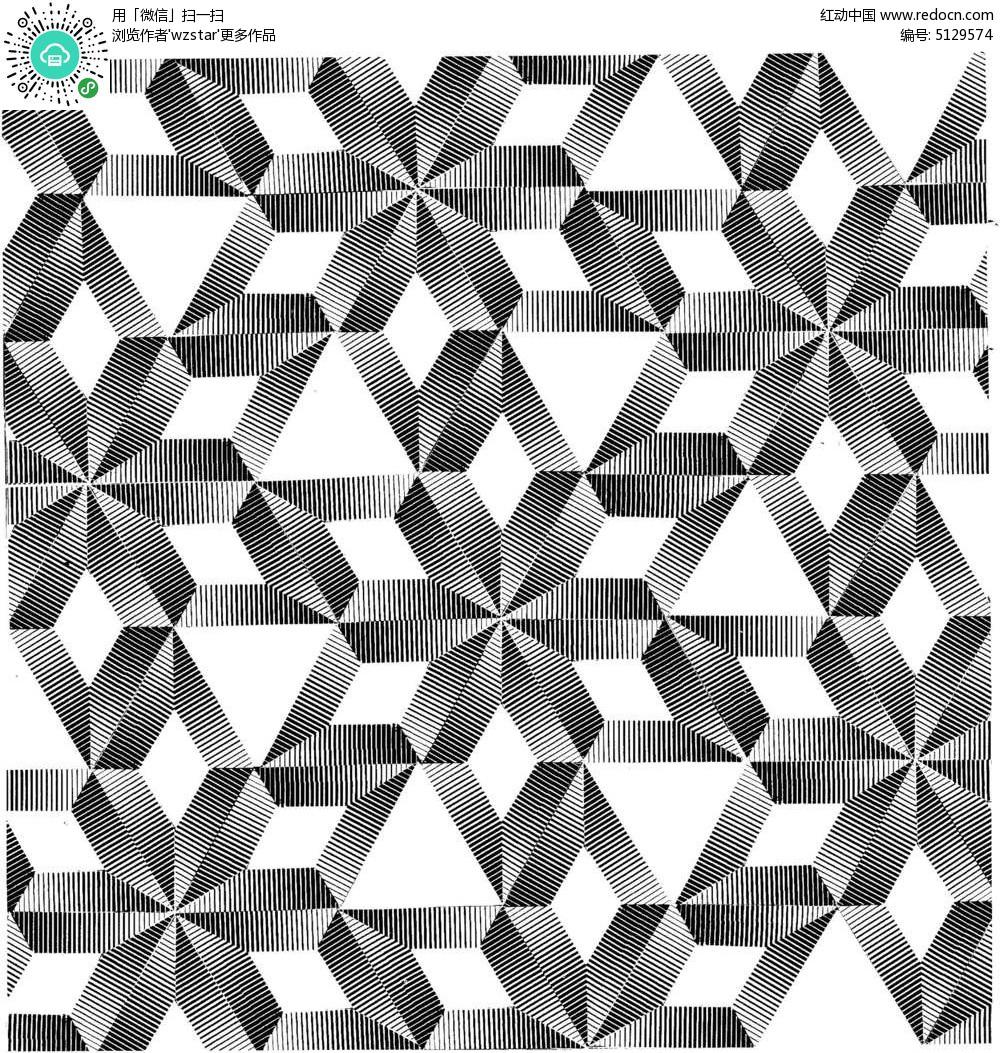 几何线条黑白拼接花纹