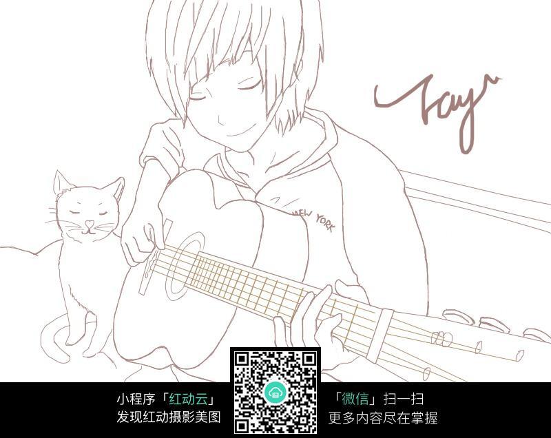 卡通弹吉他的男孩线稿图片