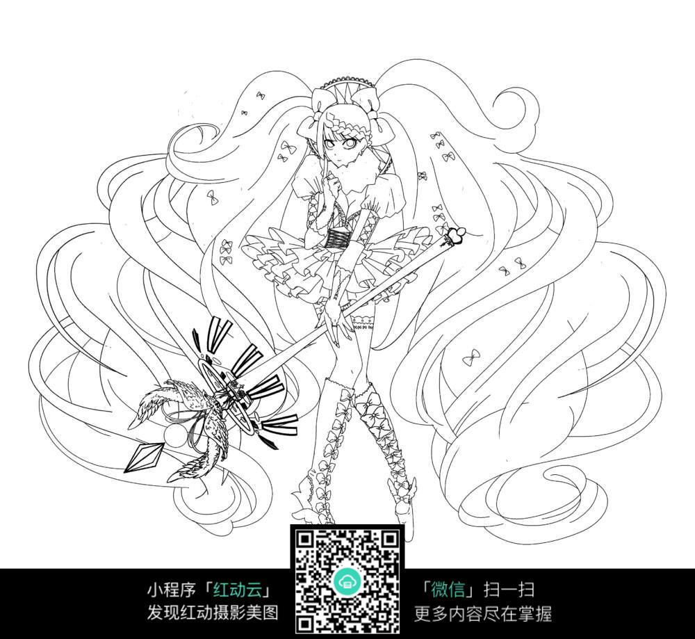 卡通魔法少女黑白图片素材