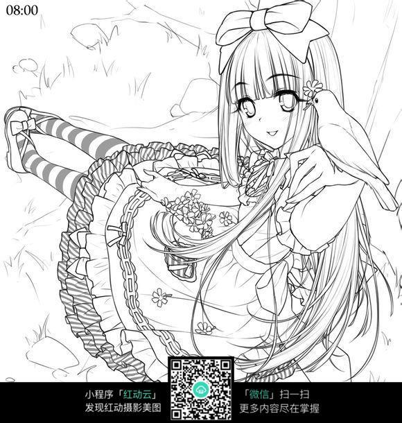 戴蝴蝶结穿长裙的长发美少女黑白简笔画图片素材图片