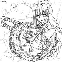 卡通手上站着白鸽头戴蝴蝶结穿长裙的长发美少女黑白简笔画图片素材