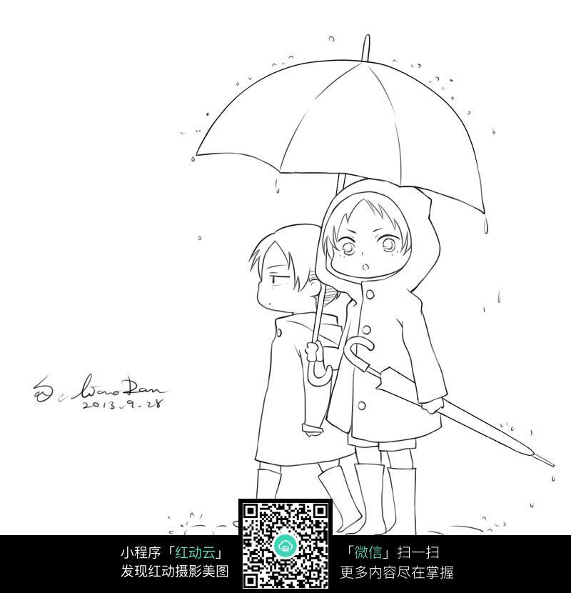 卡通下雨天穿雨衣打雨伞的女孩和男孩黑白简笔画图片素材