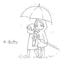女孩和男孩黑白简笔画图片