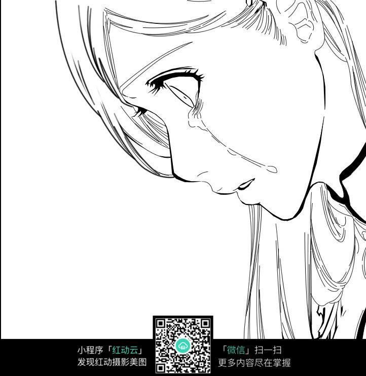 流泪的女孩卡通手绘