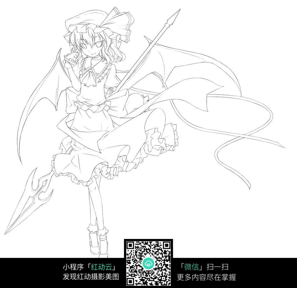 美少女线稿漫画_人物卡通图片