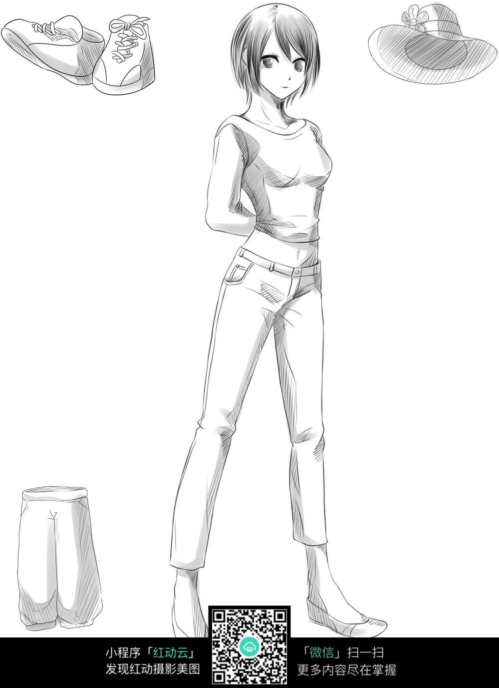 女孩和服饰卡通手绘