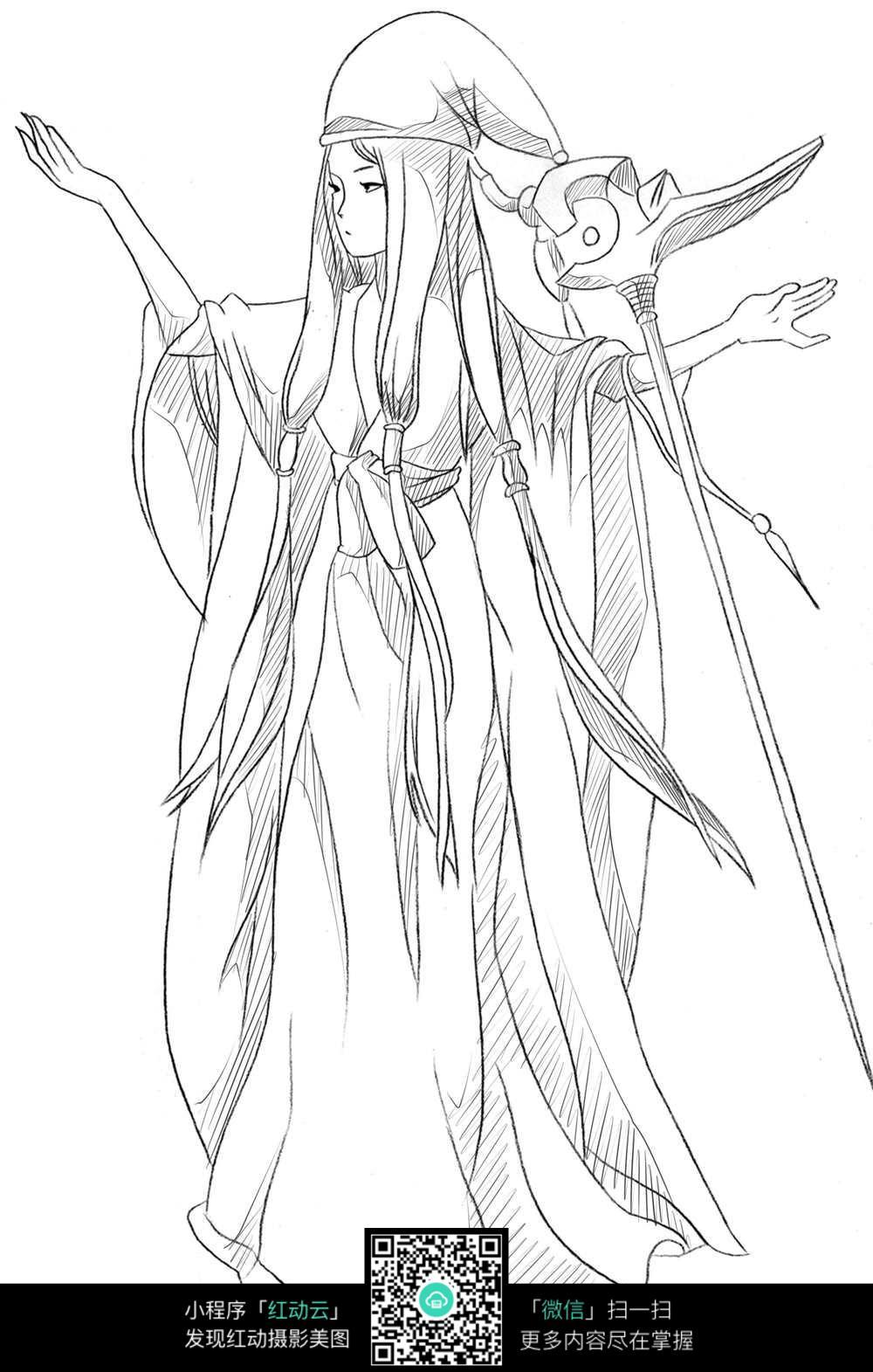 女巫卡通手绘