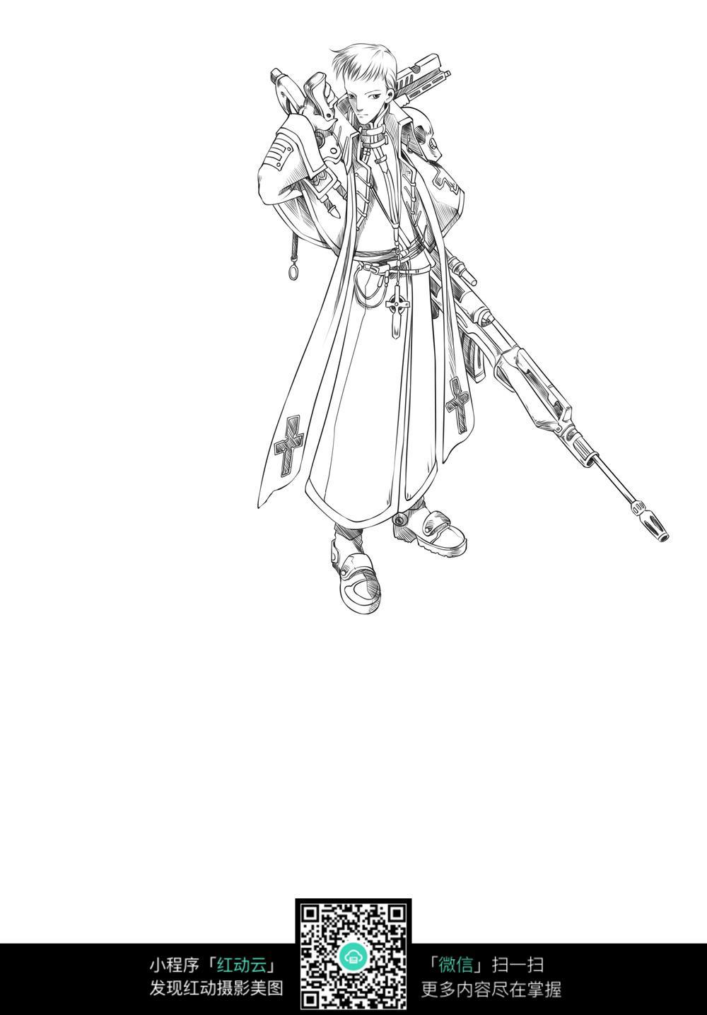 枪和少年卡通手绘