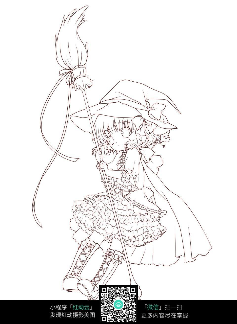 免费素材 图片素材 漫画插画 人物卡通 骑着扫把的小女巫  请您分享