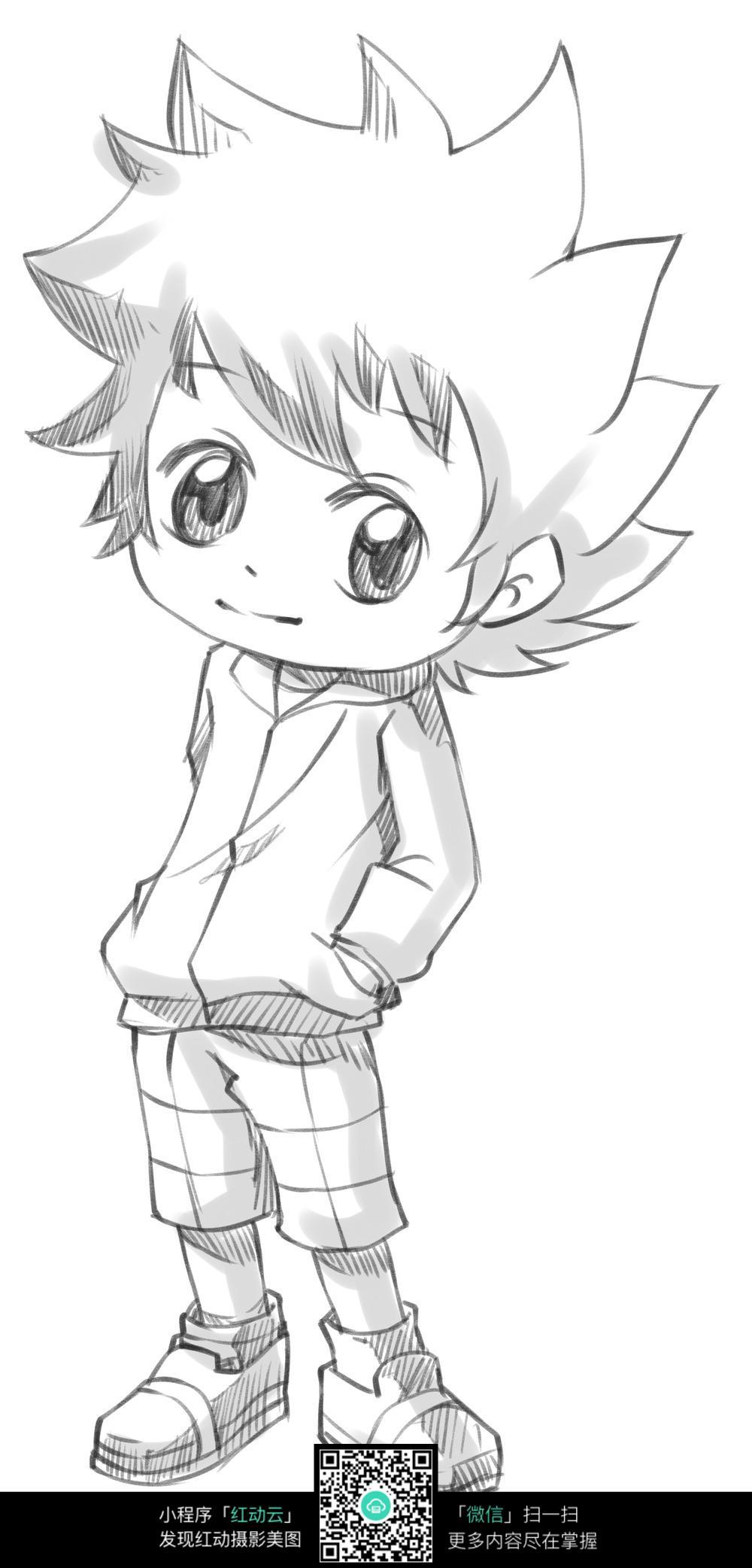 帅气动漫男生手绘稿图片