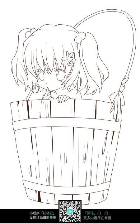 水桶里的女孩图片_人物卡通图片