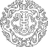 中国古典图案-双龙和寿字纹构成的精美圆形图案