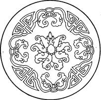 白描圆形花卉花纹