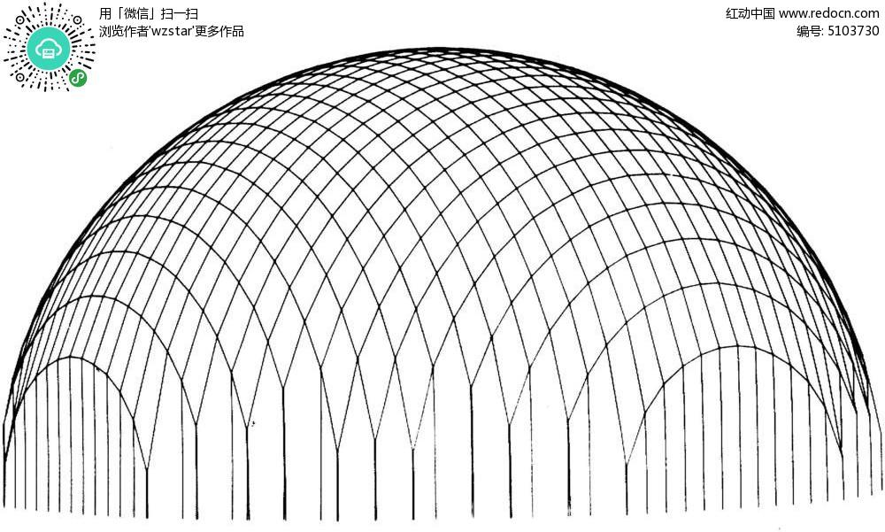 半圆广场景观手绘图