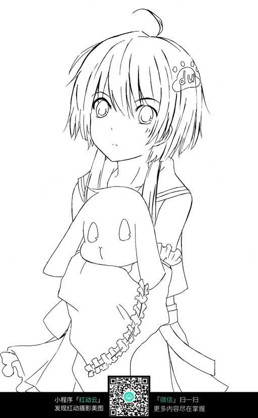 人物手绘图   线稿  插画图片  抱小狗的女孩  动画造型   动漫人物