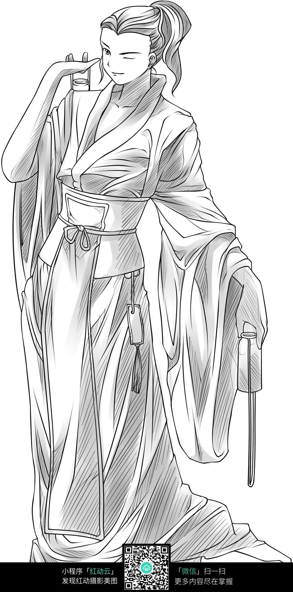 图片素材  卡通人物  漫画  大河民族服装手绘   动漫线稿  插画图片