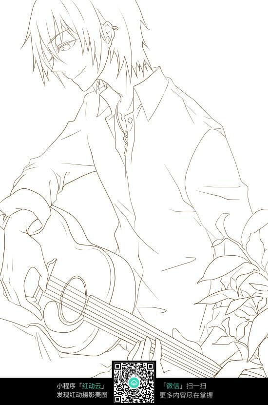 弹着吉他的动漫男生手绘图片
