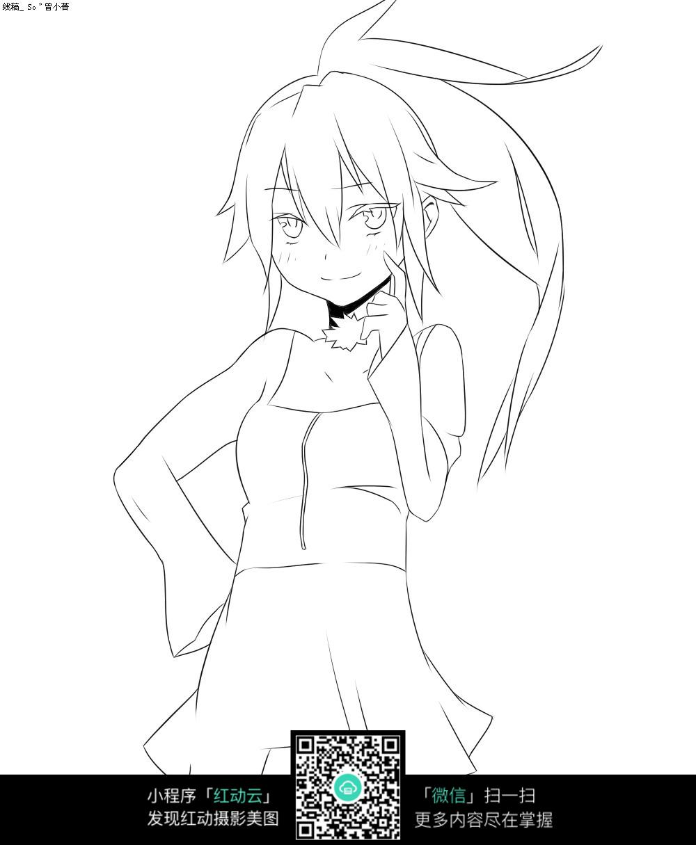 短裙美少女线绘图