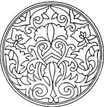 对称白描花卉花纹