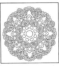 对称白描植物圆形花纹