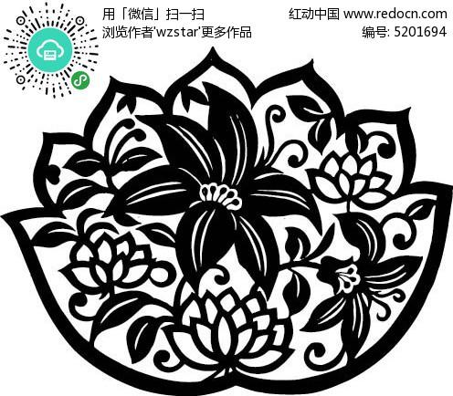 古典剪纸花卉花纹 中式古典花纹 圆形植物花纹 传统吉祥线条花纹素材