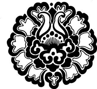 黑白简约花卉图案 花卉线条装饰图案